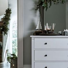 Shifting your interiors into winter mode Christmas Greenery, Deep Burgundy, Reception Rooms, Fireplace Mantels, Dresser As Nightstand, Hygge, Decorating Your Home, Home Accessories, Furniture