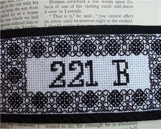 Sherlock Holmes Bookmark Blackwork Embroidery. $10.00, via Etsy.