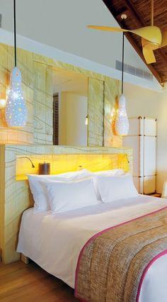 Constance Moofushi Resort ( Maldives ) Water Villas combine bamboo and rough hewn stone with creature comforts like Mac minis. Maldives Water Villa, Home Bedroom, Bedroom Decor, Mac Mini, Desk Setup, Creature Comforts, Hotel Reviews, Trip Advisor, Villas