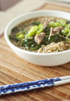 Slow cooker ramen - subbed with boneless pork loin and shiro ramen....used only 1 bag of baby spinach leaves.