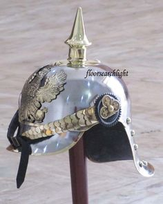 GERMAN FR BADGE PICKELHAUBE STEEL & BRASS HELMET PRUSSIAN MILITARY SPIKE HELMET