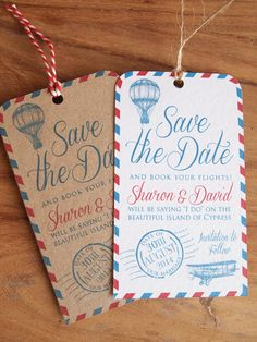 Luggage Label Save the Dates / Wedding Abroad Save the Date Our Vintage Airmail Luggage Label Save the Date Cards are perfect for letting your guests know they need to book time off and book flights to your wedding abroad! Each Save the Date Luggage Label Vintage Travel Wedding, Vintage Wedding Favors, Bespoke Wedding Invitations, Wedding Stationary, Wedding Paper, Wedding Cards, Party Invitations, Party Favors, Vintage Save The Dates