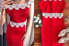 Rochie de seara rosie eleganta scurta cu broderie alba Embroidery