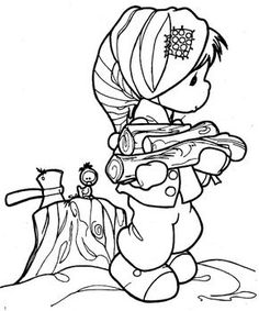 Children in winter coloring page