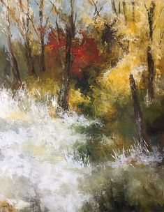 SOLD January 2019. The Snowy Paths of Autumn is a palette knife acrylic abstract landscape by Laura Swink. First in a series of works on paper. #acrylicpainting #originalart #autumn #painting www,lauraswinkfineart.com