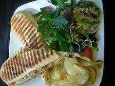 Tuna and cheddar panini