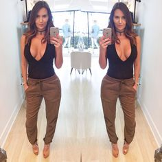 In love with pur cargo pants and body suit. Body suit also available in white by channetboutiqueandspa
