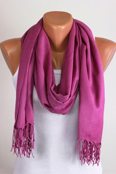 Pashmina, Purple Red, Pastel, Scarf, Thread Fringe, Tasselled, Gift Ideas For Her, Women Fashion Accessories, Best Selling Items, Oversized