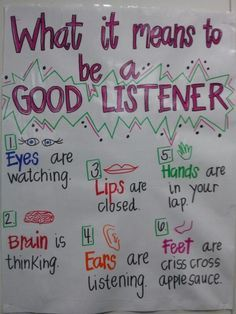 """""""What it Means to be a Good Listener"""" (anchor chart)"""