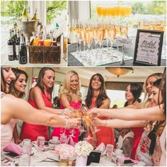 Mimosa and Bellini bar at the country club. Bridesmaids saying cheers. Pink, Gold, and White Bridal Shower. Nicole Klym Photography.