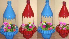 Plastic Bottle Planter, Reuse Plastic Bottles, Plastic Bottle Flowers, Plastic Bottle Crafts, Diy Bottle, Recycled Bottles, Plastic Craft, Bottle Garden, Plastic Canvas