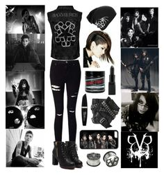"""A-Z Challenge B: Black Veil Brides"" by scene-bean ❤ liked on Polyvore featuring Manic Panic NYC, Miss Selfridge, Karl Lagerfeld, Barry M and Max Factor"