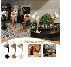 3d Wallpaper Wood, Photo Wallpaper, Coffee Cup Art, Coffee Mugs, Floating Mug, Office Desk Organization, Egyptian Decorations, Splash Art, Discount Wallpaper