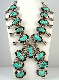 Navajo Sterling Silver Morenci Turquoise Squash Blossom Necklace