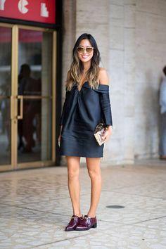 cute off the shoulder dress for colder weather