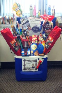 26 super AWESOME Silent Auction Basket Ideas for your fundraising auctions and events: Camping Gift Baskets, Best Gift Baskets, Camping Gifts, Making A Gift Basket, Gift Baskets For Him, Camping Lunches, Fundraiser Baskets, Raffle Baskets, Raffle Gift Basket Ideas