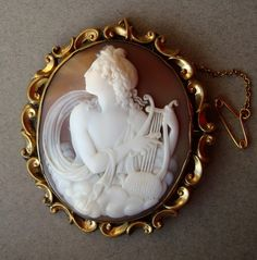 Antique Victorian Carved Shell Cameo Brooch - Apollo, God of Music