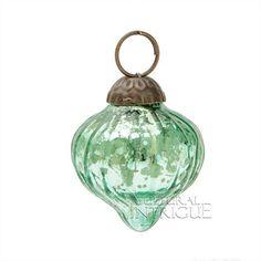Mini Vintage Green Mercury Glass Ornament (dotted onion design)