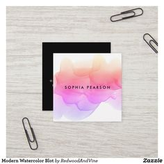Shop Modern Watercolor Blot Square Business Card created by RedwoodAndVine. Square Business Cards, Business Cards Layout, Letterpress Business Cards, Free Business Card Templates, Cool Business Cards, Business Card Design, Creative Business, Watercolor Business Cards, Referral Cards