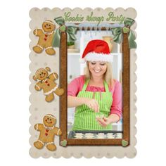 #Gingerbread Fun #Cookie #Swap #Invitation. Adorable gingerbread cookie theme with boy and girl cookies stacked above each other. Cookie trim border and green bow accents with hanging ice complete this fun Holiday Cookie Swap invite. Replace this photo template with your uploaded image. All text on card back is ready for your party information.