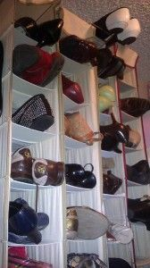 Shoe Storage Goes Vertical by addspacetoyourlife: 'We mounted a towel rod from the ceiling and hung 4 hanging shoe bags, plus a flip flop hanging device. In about 24 inches of horizontal space, we made room for 40 pairs of shoes and 6 pairs of flip flops. We also mounted hooks on the empty wall for scarves, hats, and purses.' #Shoe_Storage #addspacetoyourlife