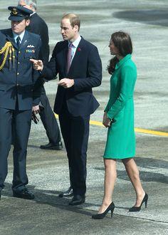 4.12.14  Catherine, Duchess of Cambridge, in Erdem coat, and Prince William, Duke of Cambridge arriving at Hamilton Airport in Hamilton, New Zealand.