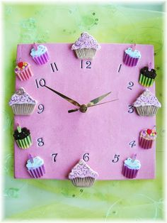 "Cupcake Clock Ceramic 10 ""  Clock in Bright pink"