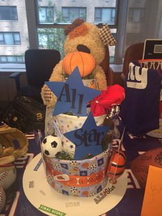 Sports Themed Diaper Cake