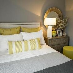 Contemporary Yellow and Gray Bedrooms