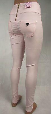 Damen Hüfthose Tregging Röhren Jeans Stretch Hose Jegging Rosa 36 38 40 42