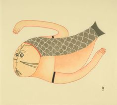 I have a weakness for sednas (Inuit mermaids) DIVING SEDNA by Ningeokuluk Teevee from Cape Dorset (Stonecut & Stencil; Inuit Kunst, Inuit Art, Tlingit, Canadian Art, Indigenous Art, Aboriginal Art, Sacred Art, Native American Art, Traditional Art