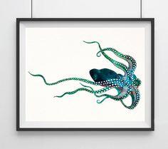 Octopus Watercolor Print Octopus Art Print von Unbreakabubble