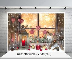 6.5x5ft Wood Board Backdrop Cotton Polyester Photography Background Happy Christmas Ball Retro Lantern Christmas Decoration Snowflake Children Kids Portrait Photo Studio Props