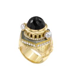 Theo Fennell - Eastern Castle Ring in 18ct gold, with pearls, diamonds and rose-cut Black Moonstone.