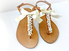 Wedding sandals- Greek leather sandals decorated with ivory pearls and satin bow -Bridal party shoes- Ivory women flats- Bridesmaid sandals