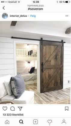 Small Bunk Room Ideas Custom Bunk beds in closet bunk beds small spaces The custom barn door opens to an adorable bunk room with shiplap - September 14 2019 at Custom Bunk Beds, Modern Bunk Beds, Modern Bedroom, Small Rooms, Small Spaces, Home Bar Rooms, Bunk Beds Built In, Build In Bunk Beds, Bunk Beds Small Room