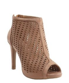 Sofia Ztaupe perforated leather open toe heel