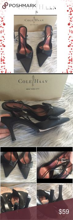 Cole Haan heels Beautiful Cole Haan Black heels. Excellent Preowned condition. Super cute and classy. Size 8 but fit as size 7. Come with box. Cole Haan Shoes Heels