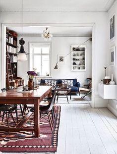 white floor & dark chairs & red carpet (wall cupboard)