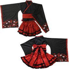 moderner kurzer Kimono für Oiran in Riben