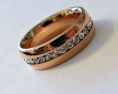 """7mm """"ROSE GOLD"""" Stainless Steel Eternity CZ Men's & Women's Wedding Band Ring #Band"""