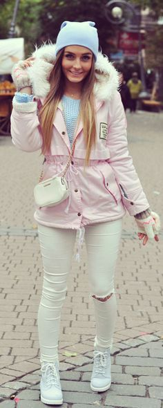 Military Fashion Trends for Women Your country needs you: military fashion inspiration. Pink Faux Fur Hooded Zipper Embellished Fleece Inside Military Coat , it is warm, cozy and fashionable.