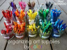 This is how my craft closet is organized...and I love it! Organizing Art Supplies By Color from Blissful Roots