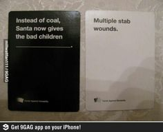This game is awesome..cards against humanity