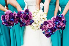 Paleta de Cores - Azul Tiffany e Violeta - Psiu Noiva - Purple Wedding Bouquets, Peacock Wedding, Floral Wedding, Wedding Colors, Diy Wedding, Wedding Flowers, Dream Wedding, Wedding Day, Lilac Wedding