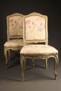 Pair of antique French Louis XV style side chairs with polychrome finish, circa 1920. #antique #chairs