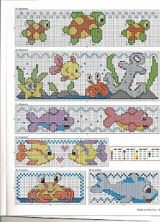 cute sea patterns for baby bibs - lots of other baby cross stitch patterns too!