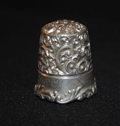 Vintage Sterling Silver Thimble with Ornate by SalvageNation, $25.00
