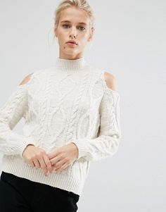 River Island | River Island Cable Knit Solc Shoulder Sweater