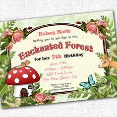 Enchanted Forest Woodland Party Printable Custom by PartyEverAfter Maleficent Birthday Party, Fairy Birthday Party, Birthday Party Invitations, 3rd Birthday, Birthday Parties, Wedding Invitations, Enchanted Forest Theme Party, Kids Party Themes, Party Ideas